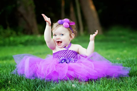 Beautiful-Cute-Baby-Girl-In-Purple-Dress